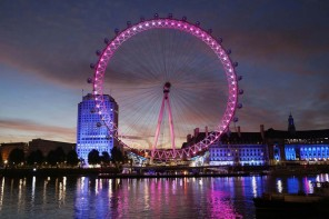 The London Eye lit up in pink to mark the first International Da